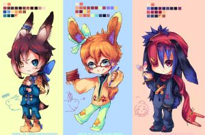 BunnyBoys Adoptables set 1 by KingnLionheartAdopts