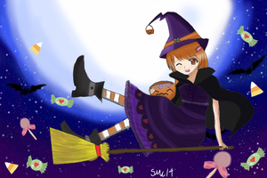 Happy Halloween (Anime witch) by screepersMC