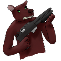 Bear with a shotgun by crocty