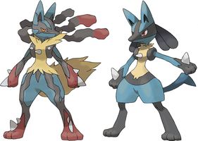Lucario And Mega Lucario by Frie-Ice