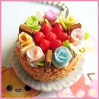 Color Roses Cake Necklace by cherryboop