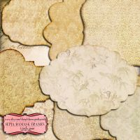 Scrapbook frame Sepia Damask Frames by miabumbag