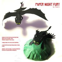Paper Night Fury Poses by melllic