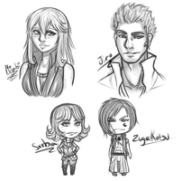 Busts sketches and Chibis~ by Mama-Moose