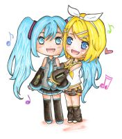 miku and rin chibis by makii-chi