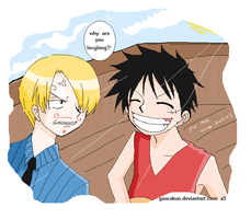 + Luffy and Sanji + by gaarakun