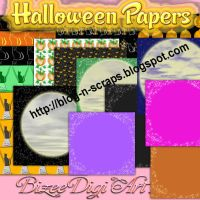 Halloween papers and 2 sets of alphas by Bizee1