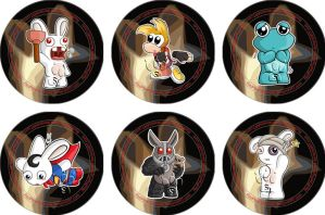 Rayman Raving Rabbids Badges by RedPawDesigns
