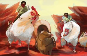 Cowboys Riding Chickens by xXDeadlyPersonaXx