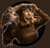Lomadia owl(sepia) by Syncrasis