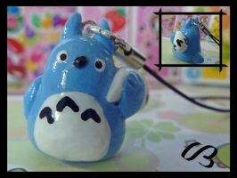 Blue Totoro Phone Charm by FlyingPandaGirl