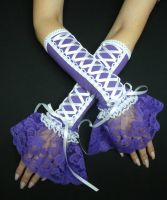 White and Purple Gloves by Estylissimo