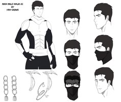 Male Ninja OC - Face and Weapon Profile by Yan-Draws