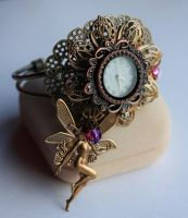 Gothic watch cuff by Pinkabsinthe