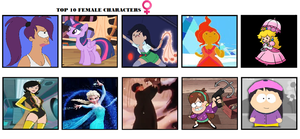 Top 10 Female Characters by TheDarkBrawler90
