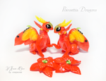Stella and Sven, Poinsettia Dragons by rosepeonie