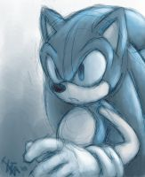 SONIC - quick drawing by nocturnalMoTH