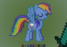 (Minecraft pixel art) RD stretches her wings by Zabozamojo