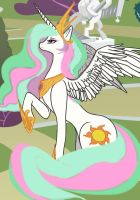 Princess Celestia in the Canterlot Gardens by CrimsonBeat