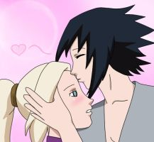 {Sasuke} is kissing {Ino} on the forehead by 69M00N69