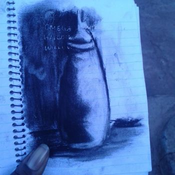 Charcoal Art - Bottle by Fiona-theartist