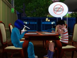 Sims 3 - Annasophia makes friends with Mortimer by Magic-Kristina-KW