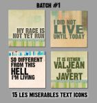 Les Miserables text icons 1 by blindingxlights