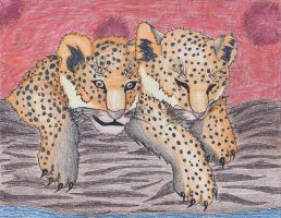 cheetah cubs by PyroRaveHeart71