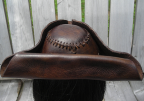 back of leather tricorn hat by anthropochick
