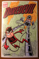 Daredevil vs. Stilt-Man sketch cover commission by thecheckeredman