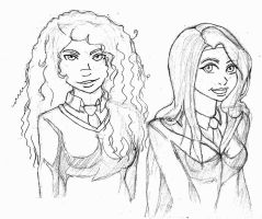 Merida and Rapunzel at Hogwarts by SinisterSorrows