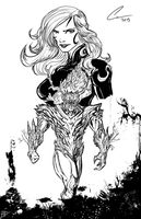Swamp Thing and Poison Ivy Line art by randomality85