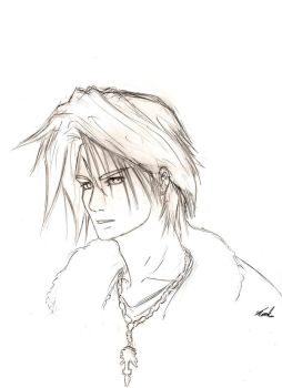 Squall Leonhart Linework by mattcrossley