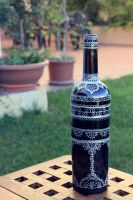 Hand-painted bottle in silver by purpleniya