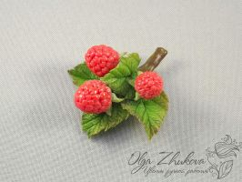 brooch with raspberries by polyflowers