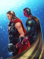 Avengers The Age Of Ultron - Vision x Thor by maXKennedy