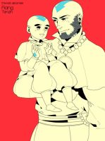Aang and  little Tenzin. by freestarisis