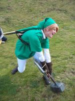 link cosplay - trying to pick up thor's hammer by DanteJackpot