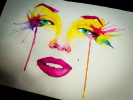 Marylin Monroe  Rainbow Splash by LeeArtStudio