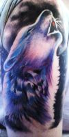 Howling wolf Tattoo- Finished by phantomphreaq