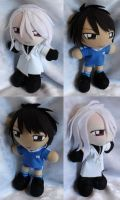 Art Trade, Mini Plushies Koji and Takuto by LadyoftheSeireitei