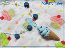 Blueberry Ice Cream Necklace by rawrzipan