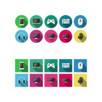 Free Flat icons : Grayscale Gadgets (SVG/PNG) by xms9