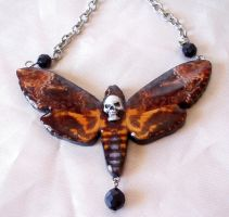 Deaths head moth necklace by wickedgems