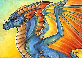 ACEO: Dragon at Dawn by kurootus