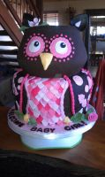 Pretty Pink Owl Cake by clear-blue-ocean
