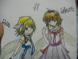 Rin and Sakura as angels by Xalsr27X