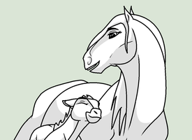 Mare and Foal Lineart Re-Done by FrozenHeartStables