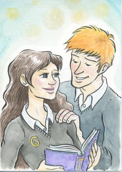 Ron and Hermione by jackiemakescomics