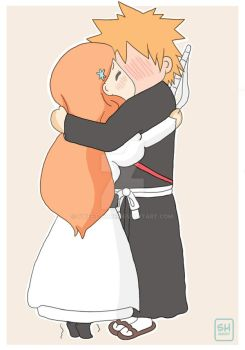 IchiHime chibi kiss by Sweet-Hope
